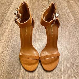 New Camel Faux Suede Buckle Ankle Heels 5.5